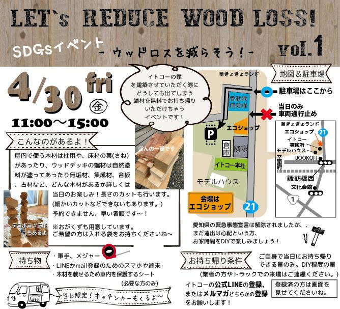 LET 's  REDUCE  WOOD LOSS!  vol.1 ~ウッドロスを減らそう!~