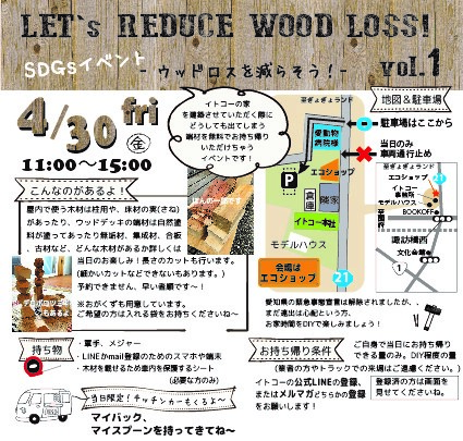 LET's  REDUCE  WOOD LOSS!  vol.1 ~ウッドロスを減らそう!~